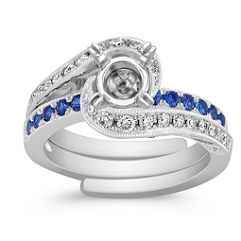 Sapphire and Diamond Swirl Wedding Set