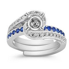 Sapphire and Diamond Swirl Wedding Set