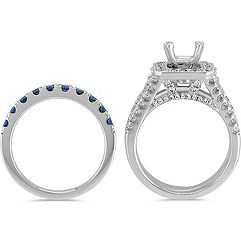 Halo Sapphire, Round and Baguette Diamond Wedding Set