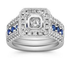 Halo Sapphire, Round and Baguette Diamond Wedding Set