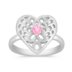 Round Pink Sapphire and Sterling Silver Heart Ring