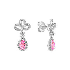 Pear Shaped Pink Sapphire and Round Diamond Earrings