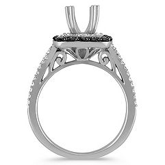 Double Halo 14k White Gold Engagement Ring with 16 Black Sapphires and 64 Diamonds