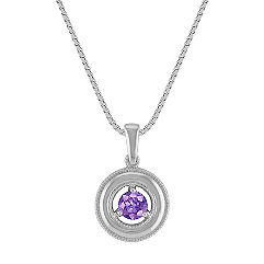 Circle Lavender Sapphire Pendant (18 in.)