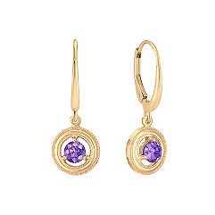 Lavender Sapphire Circle Lever Back Earrings