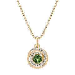 Green Sapphire and Diamond Circle Pendant (18 in.)