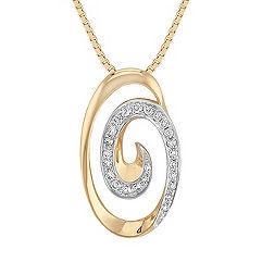 Swirl Diamond Circle Pendant in Two-Tone Gold (18 in.)