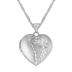 Engraved 14k White Gold Heart Shaped Locket (18 in.)
