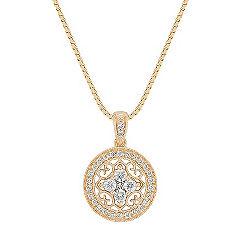 Princess Cut and Round Diamond Circle Pendant (18)