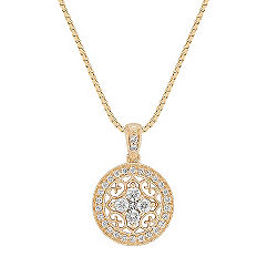 Princess Cut and Round Diamond Circle Pendant (18 in.)