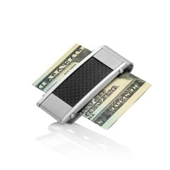 Stainless Steel Money Clip with Black Carbon Fiber