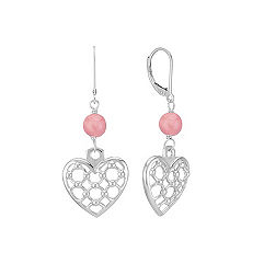 Sterling Silver Hearts and Pink Rhodonite Earrings