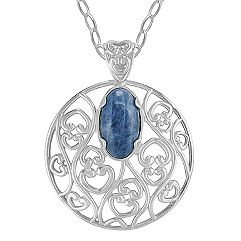 Sterling Silver and Sodalite Circle Pendant (18)