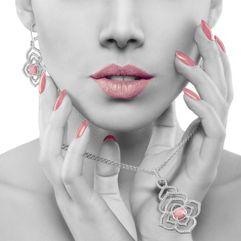 Sterling Silver and Rhodonite Floral Dangle Earrings