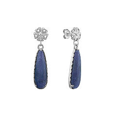 Blue Sodalite and Sterling Silver Dangle Earrings