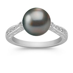 9mm Cultured Tahitian Pearl and Diamond Ring