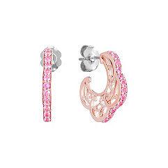 Pink Sapphire and 14k Rose Gold Hoop Earrings