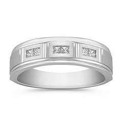 Princess Cut Diamond Ring with Satin Finish