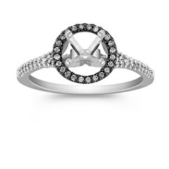 Halo 14k White Gold & Black Rhodium Engagement Ring with 72 Pave Set Diamonds
