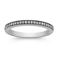 Pave Set Diamond Wedding Band with Black Rhodium