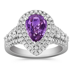 Pear Shaped Lavender Sapphire and Round Diamond Ring