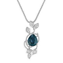 Pear Shaped Blue Green Sapphire and Calla Cut Diamond Pendant (18 in.)