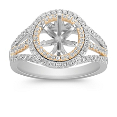 Halo Diamond Engagement Ring in Two-Tone Gold with Pave Setting