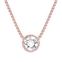 Round White Sapphire Pendant in 14k Rose Gold (18 in.)