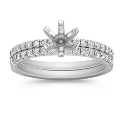 Classic Diamond Wedding Set in Platinum with Pave Setting