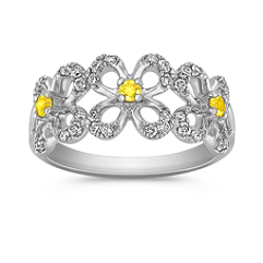 Yellow Sapphire and Diamond Floral Ring