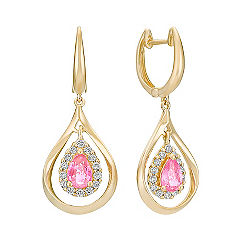 Pear Shaped Pink Sapphire and Round Diamond Dangle Earrings