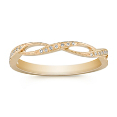 Stackable Infinity Yellow Gold Vintage Diamond Ring