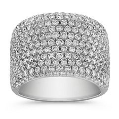 Contemporary Diamond Ring with Pave Setting