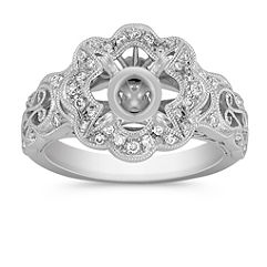 Vintage Floral Halo Diamond Engagement Ring