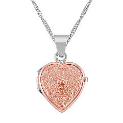 Heart Locket in 14k White and Rose Gold (18 in.)