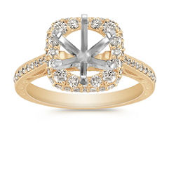 Vintage Halo Diamond Engagement Ring with Pave Setting