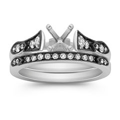 Vintage Cathedral Diamond Wedding Set with Black Rhodium