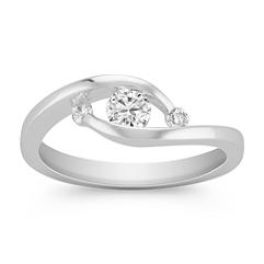 Contemporary Round Diamond Three Stone Ring