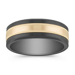 Polished Cobalt and 14k Yellow Gold Men's Band (7.5mm)
