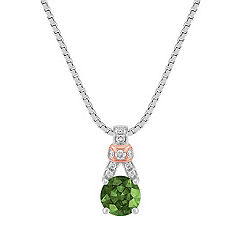 Green Sapphire and Diamond Pendant in 14k White and Rose Gold (18)