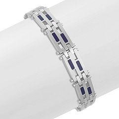 Stainless Steel and Blue Enamel Bracelet (8.5 in.)