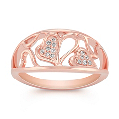 Heart Diamond Ring in Rose Gold