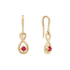 Round Ruby Dangle Earrings