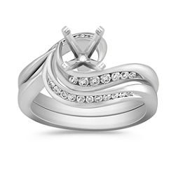 Diamond Swirl Wedding Set in Platinum with Channel Setting