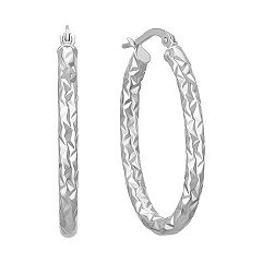 Textured 14k White Gold Hoop Earrings