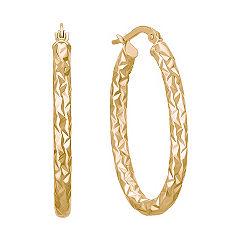 Textured 14k Yellow Gold Hoop Earrings