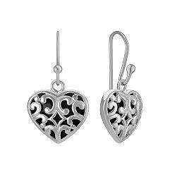 Black Agate and Sterling Silver Dangle Heart Earrings