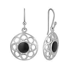Black Agate and Sterling Silver Circle Earrings