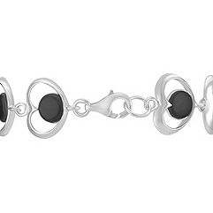 Sterling Silver and Black Agate Heart Bracelet (7.5)