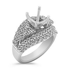 Steps Diamond Engagement Ring with Pavé Setting